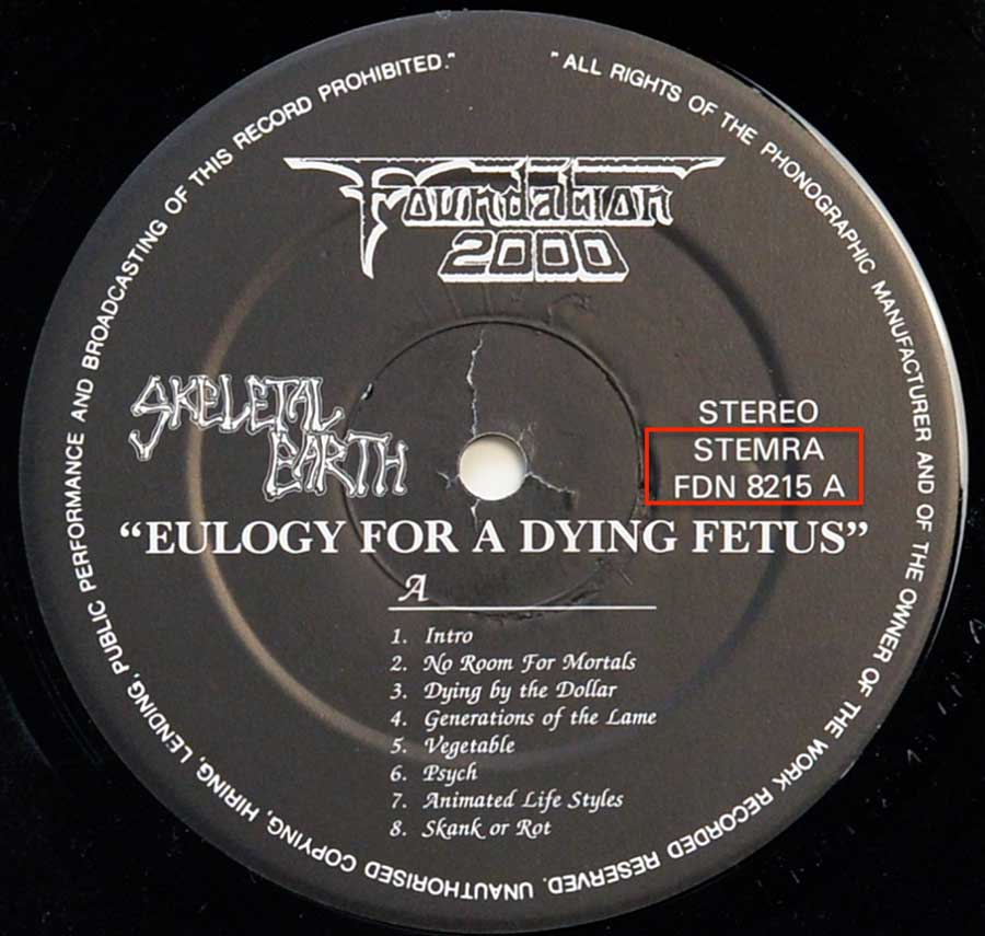 Close up photo of the records label SKELETAL EARTH - Eulogy for Dying Fetus