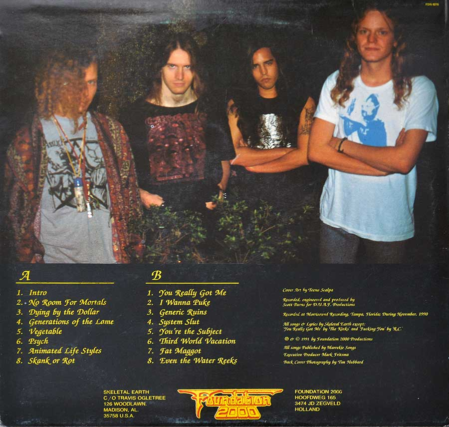 Photo of album back cover SKELETAL EARTH - Eulogy for Dying Fetus