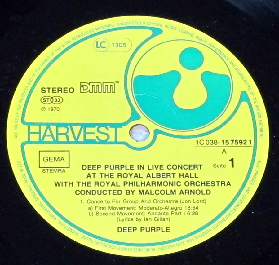 Close-up photo of the Yellow and Green Harvest Record Label