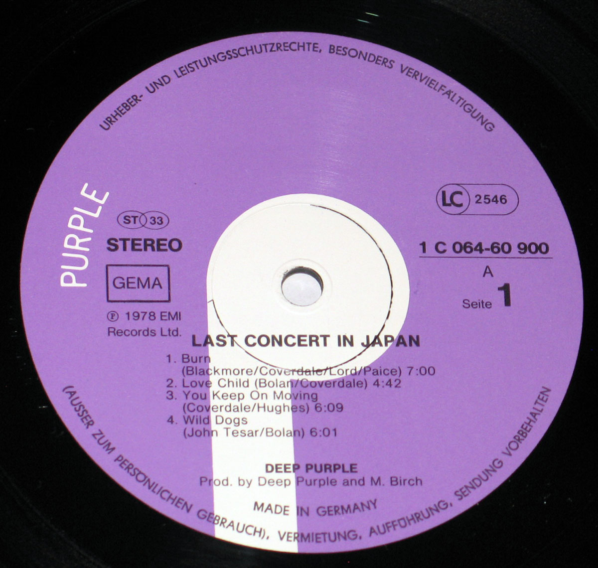 High Resolution    Photo of the record's label DEEP PURPLE Last Concert in Japan