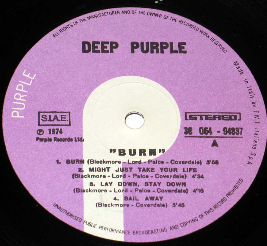 High Resolution #3 Photo DEEP PURPLE Burn Italy