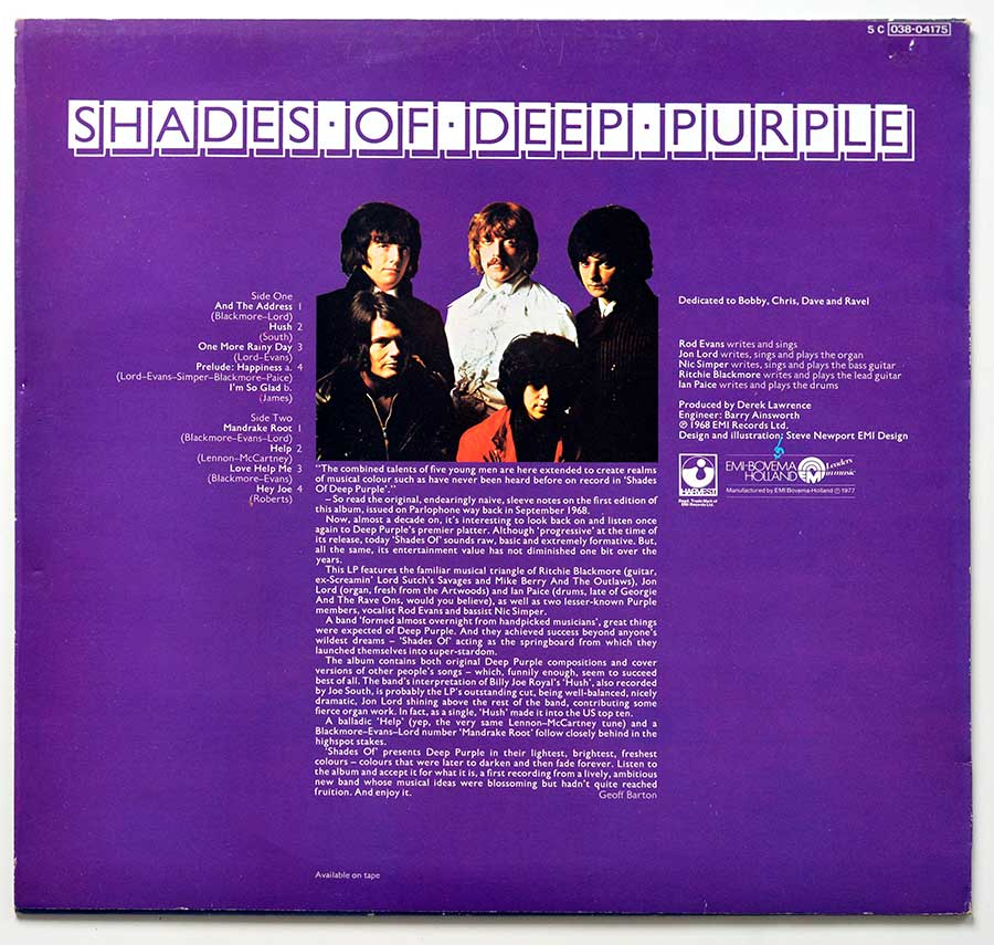 High Resolution Photo Album Back Cover of DEEP PURPLE – Shades Of Deep Purple https://vinyl-records.nl