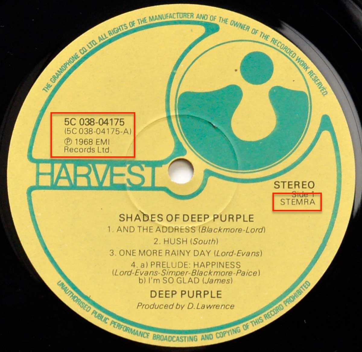 Enlarged High Resolution Photo of the Record's label DEEP PURPLE – Shades Of Deep Purple https://vinyl-records.nl