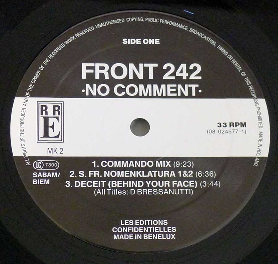 "Close up of Side One record's label FRONT 242 - No Comment 12"" LP VINYL Album"