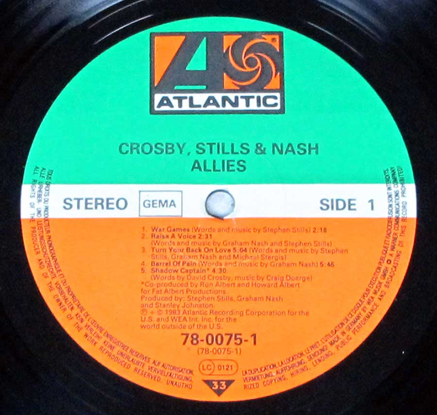 """Allies"" Record Label Details: Green, White and Orange Colourd Label ATLANTIC 78-0075"