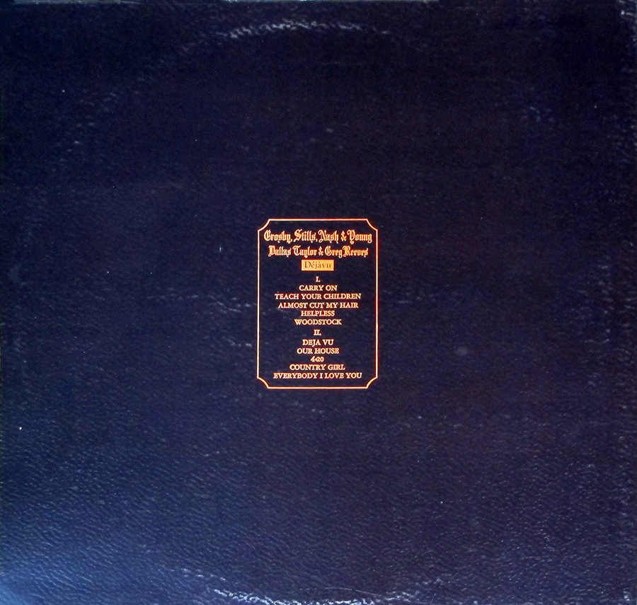 "Photo of album back cover CROSBY STILLS NASH YOUNG - Deja Vu UK Gatefold 12"" Vinyl LP Album"