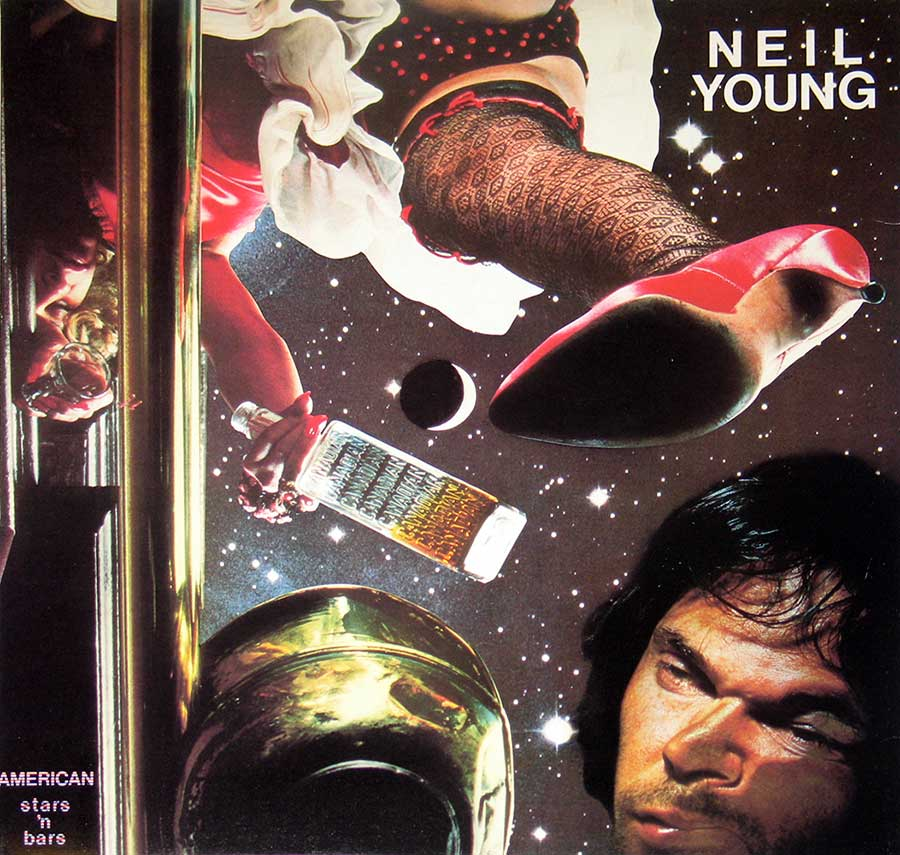 "NEIL YOUNG - American Star 'n Bars with Linda Ronstadt, Emmylou Harris 12"" vinyl LP  front cover https://vinyl-records.nl"