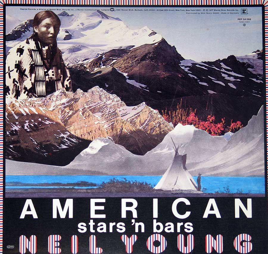"NEIL YOUNG - American Star 'n Bars with Linda Ronstadt, Emmylou Harris 12"" vinyl LP  back cover"