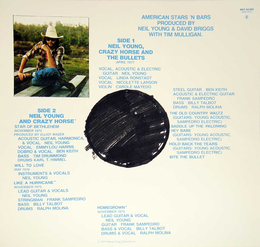 "NEIL YOUNG - American Star 'n Bars with Linda Ronstadt, Emmylou Harris 12"" vinyl LP  custom inner sleeve"
