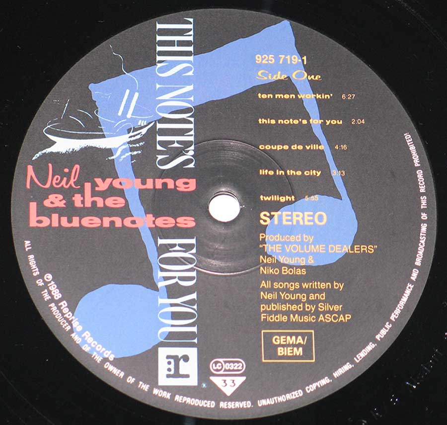 "Close-up of ""Neil Young & The Bluenotes"" Reprise Record Label"