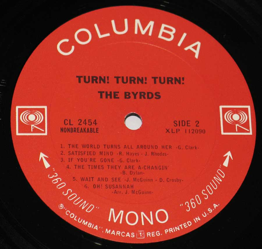 """Turn Turn Turn by the Birds"" Red Colour with two Walking Eye Logo's Columbua Record Label Details: CL 2454 Non-Breakable, Printed in U.S.A."