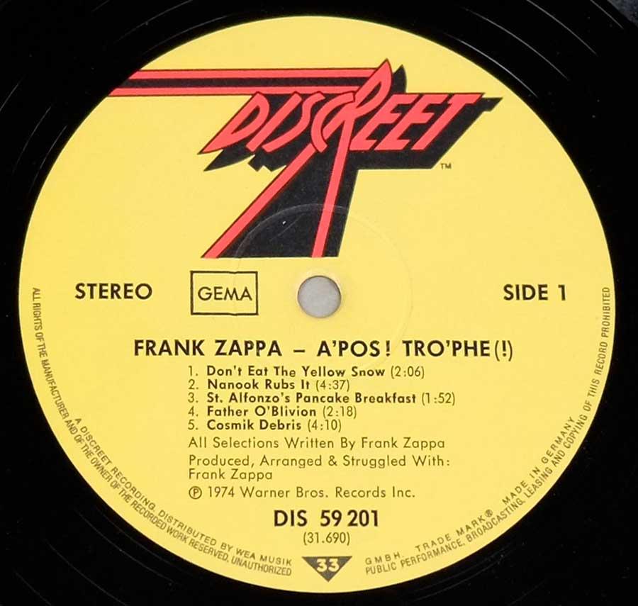 Frank Zappa Apostrophe First German Release 12 Quot Lp Vinyl
