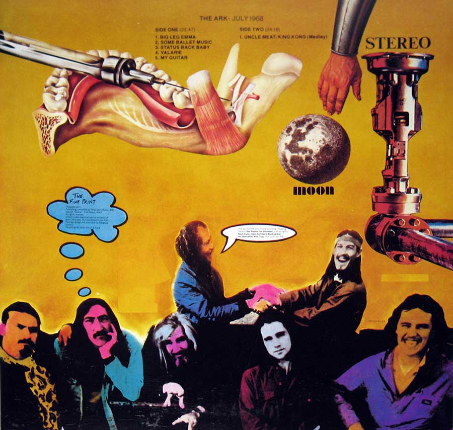 Photo of album back cover FRANK'S MOTHERS OF INVENTION – The Ark - July 1968