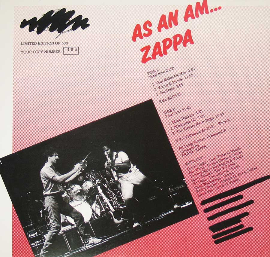 "FRANK ZAPPA - As An Am 12"" VINYL LP ALBUM  back cover"