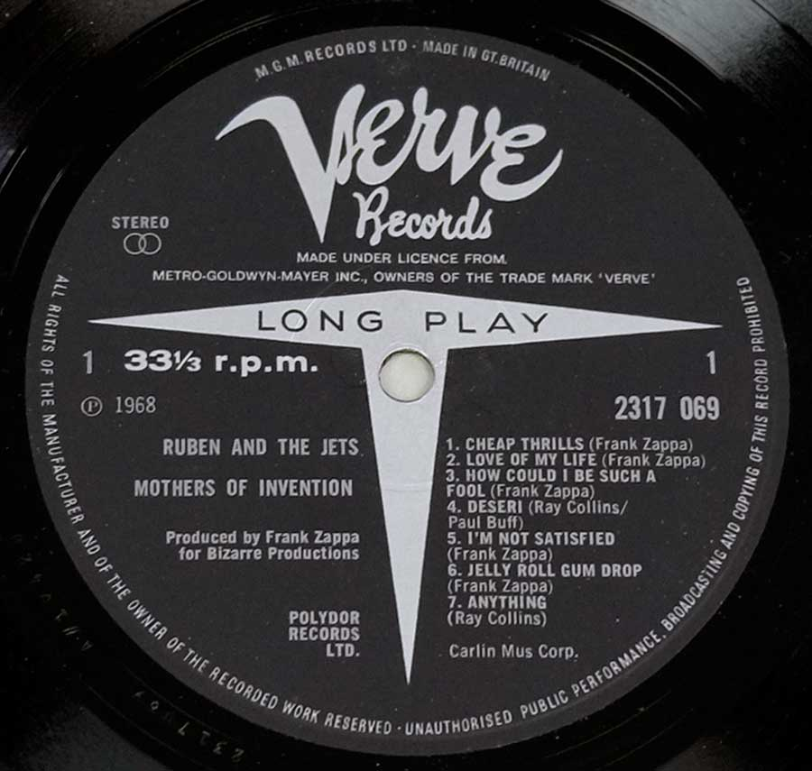 Close up of record's label MOTHERS OF INVENTION - CRUISING WITH RUBEN & THE JETS UK Side One