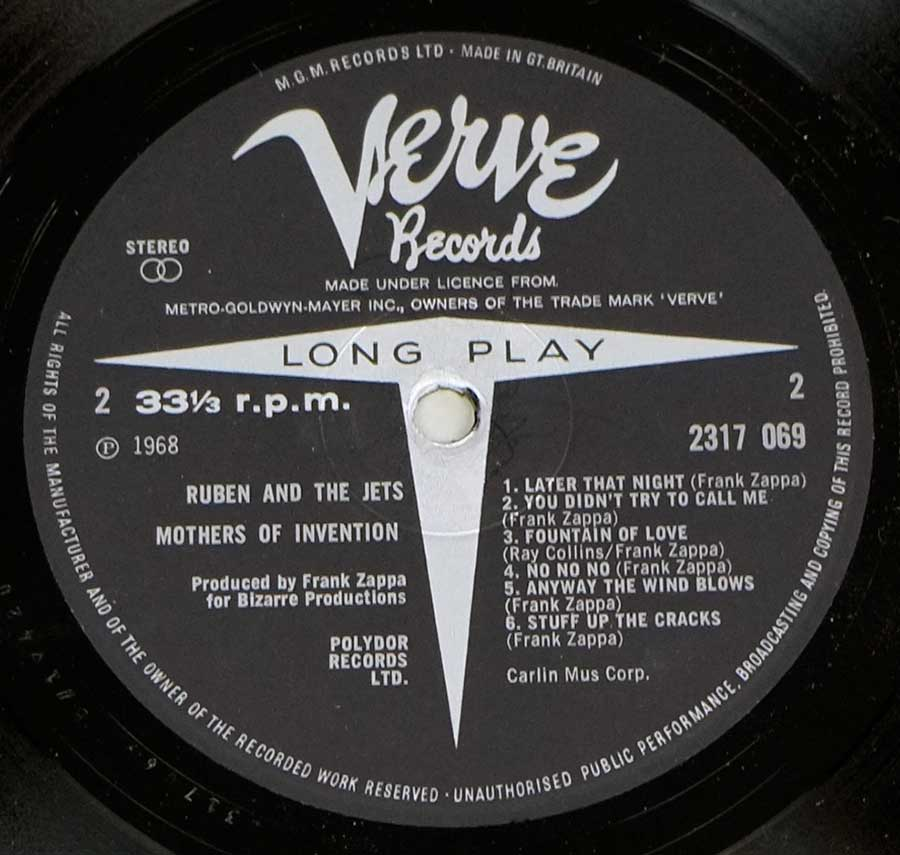 Close up of record's label MOTHERS OF INVENTION - CRUISING WITH RUBEN & THE JETS UK Side Two