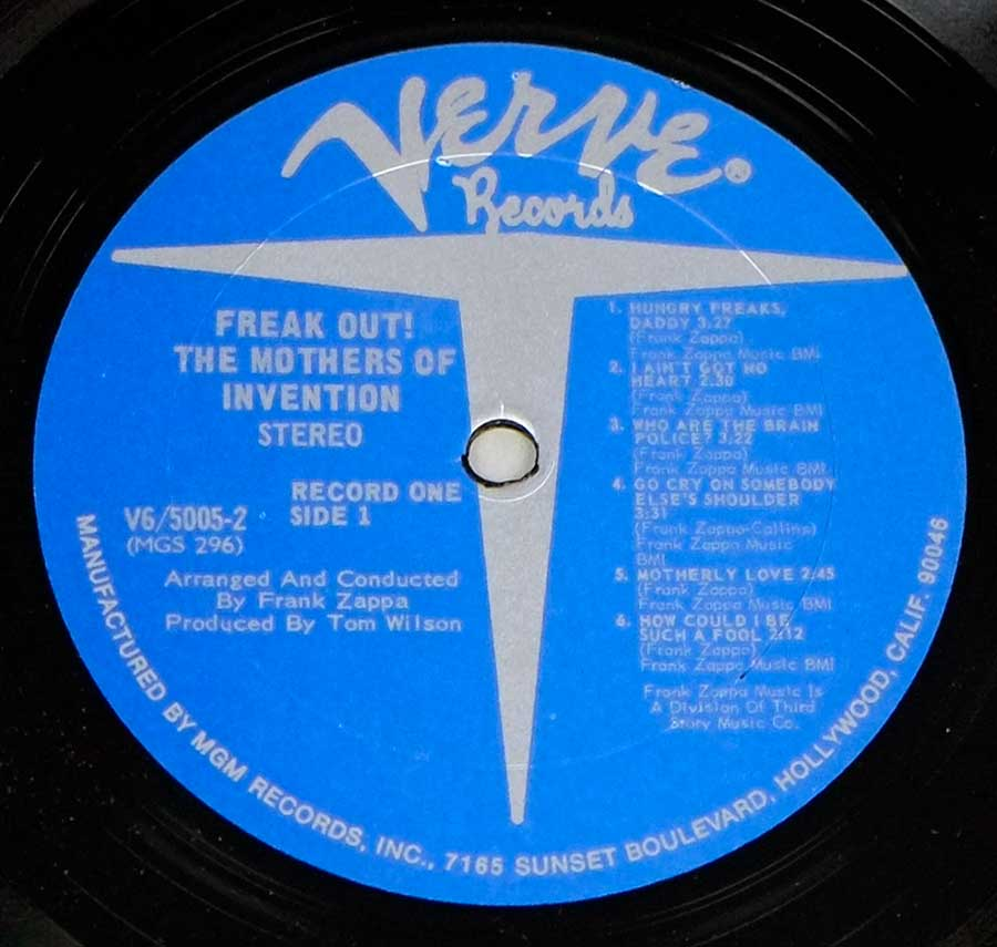 Close up of record's label THE MOTHERS OF INVENTION - FREAK OUT!  Side One