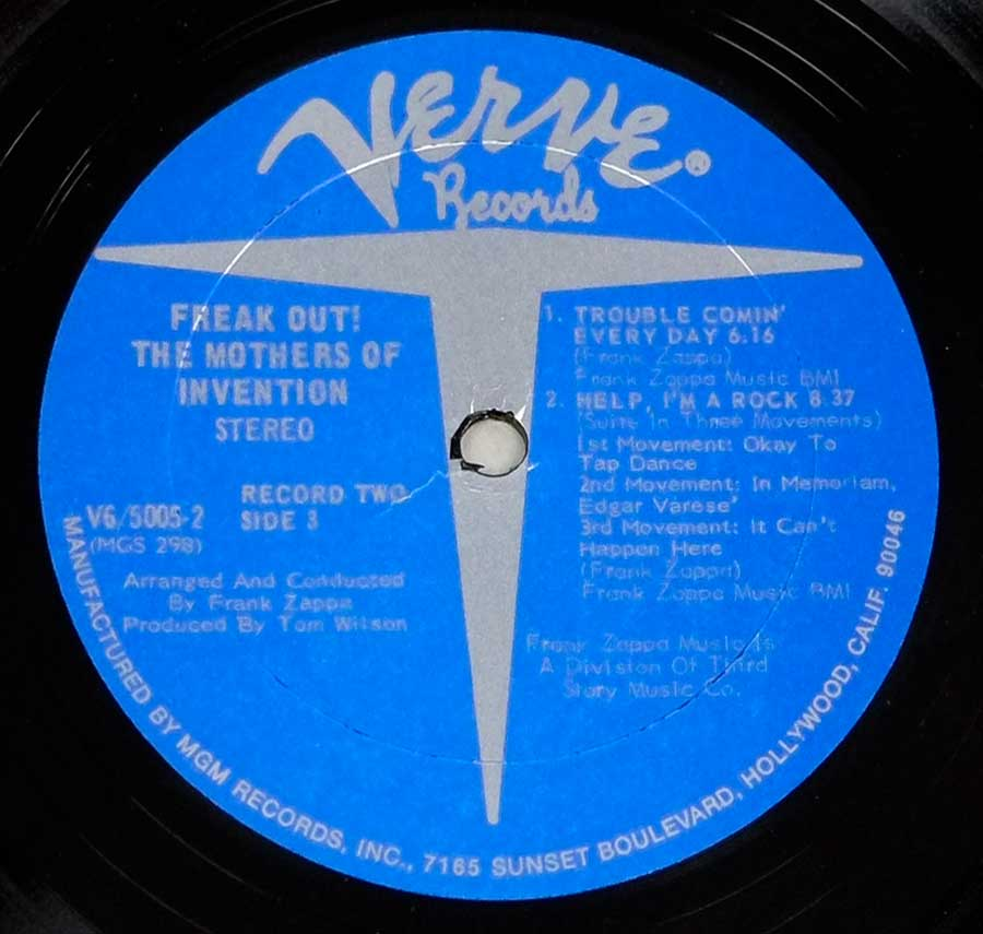 Close up of record's label THE MOTHERS OF INVENTION - FREAK OUT! Side Four: