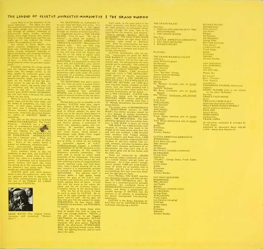 "Photo of the right page inside cover FRANK ZAPPA & THE MOTHERS - Grand Wazoo Gatefold 12"" LP Vinyl Album"