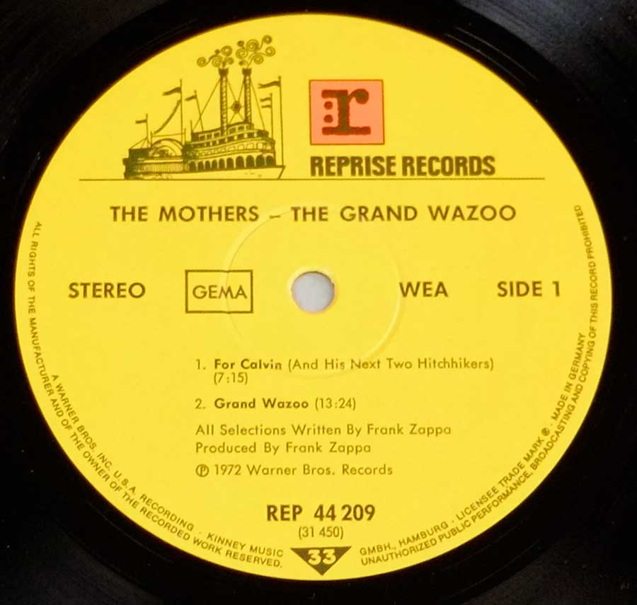 "Close up of record's label FRANK ZAPPA & THE MOTHERS - Grand Wazoo Gatefold 12"" LP Vinyl Album Side One"