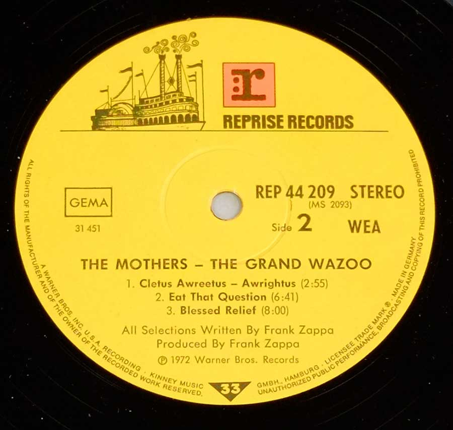 "Close up of record's label FRANK ZAPPA & THE MOTHERS - Grand Wazoo Gatefold 12"" LP Vinyl Album Side Two"