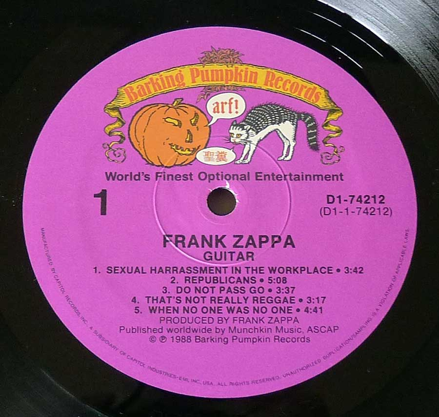 Record Label Details: Barking Pumpkin Records (World's Finest Optional Entertainment) D1-74212  © ℗ 1988 Sound Copyright