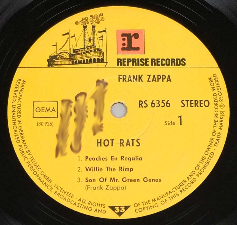 """Hot Rats"" Record Label Details: Yellow Colour with Riverboat Logo REPRISE RECORDS RS 6356 , 30 926"