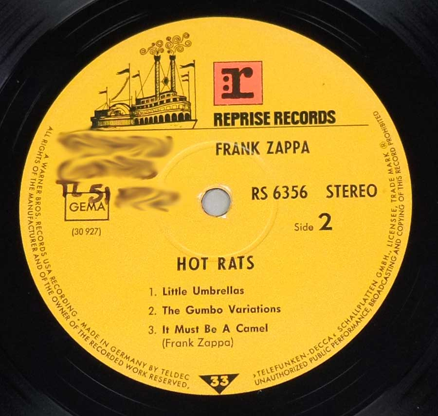 "Side Two Close up of record's label FRANK ZAPPA - Hot Rats Reprise TELDEC Gatefold 12"" LP VINYL ALbum"