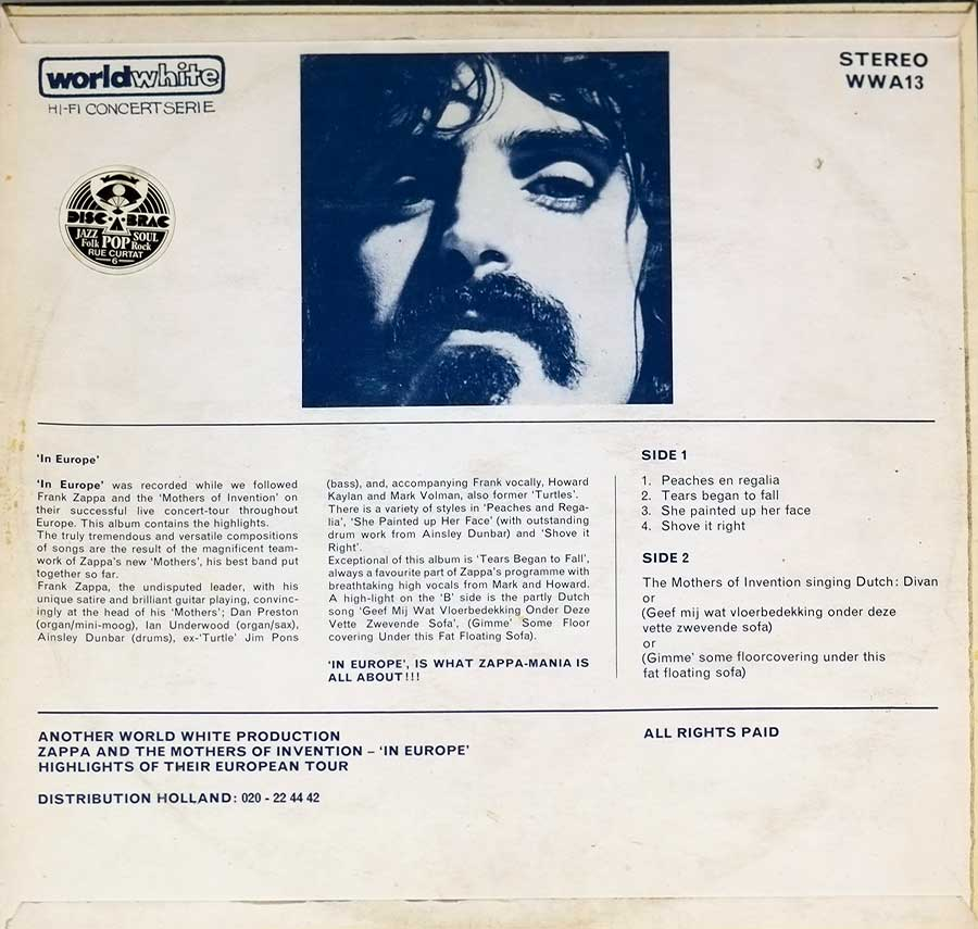 "FRANK ZAPPA & MOTHERS OF INVENTION In Europe / Inspiration Worldwhite WWA 13 12"" LP VINYL back cover"