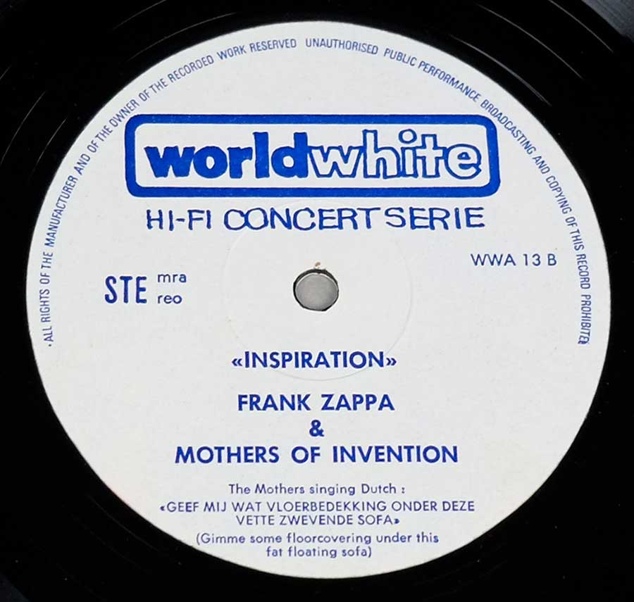 "FRANK ZAPPA & MOTHERS OF INVENTION In Europe / Inspiration Worldwhite WWA 13 12"" LP VINYL enlarged record label"