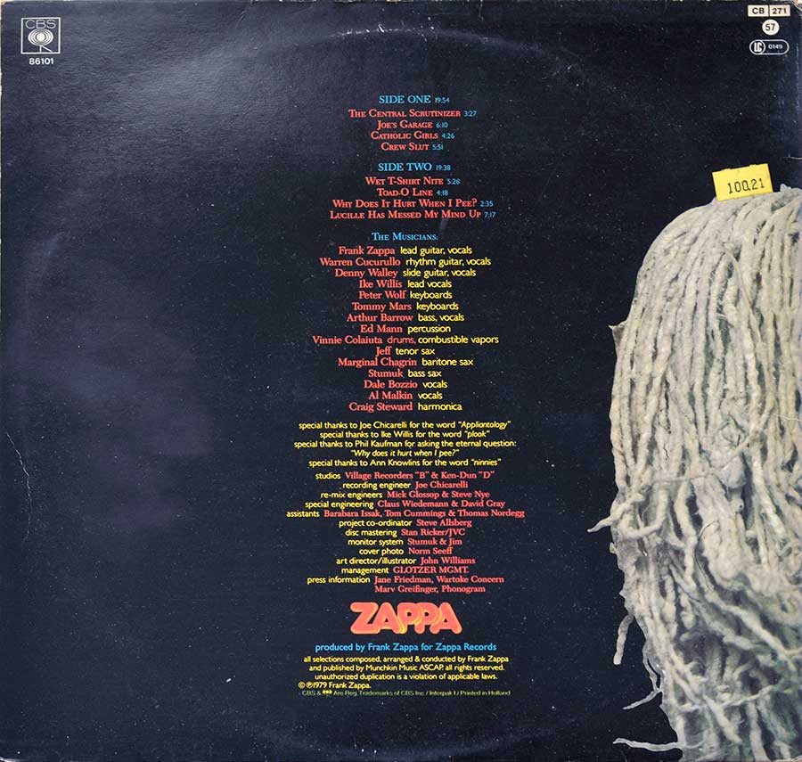 "FRANK ZAPPA - Joe's Garage Act I Gatefold 12"" Vinyl LP Album   back cover"
