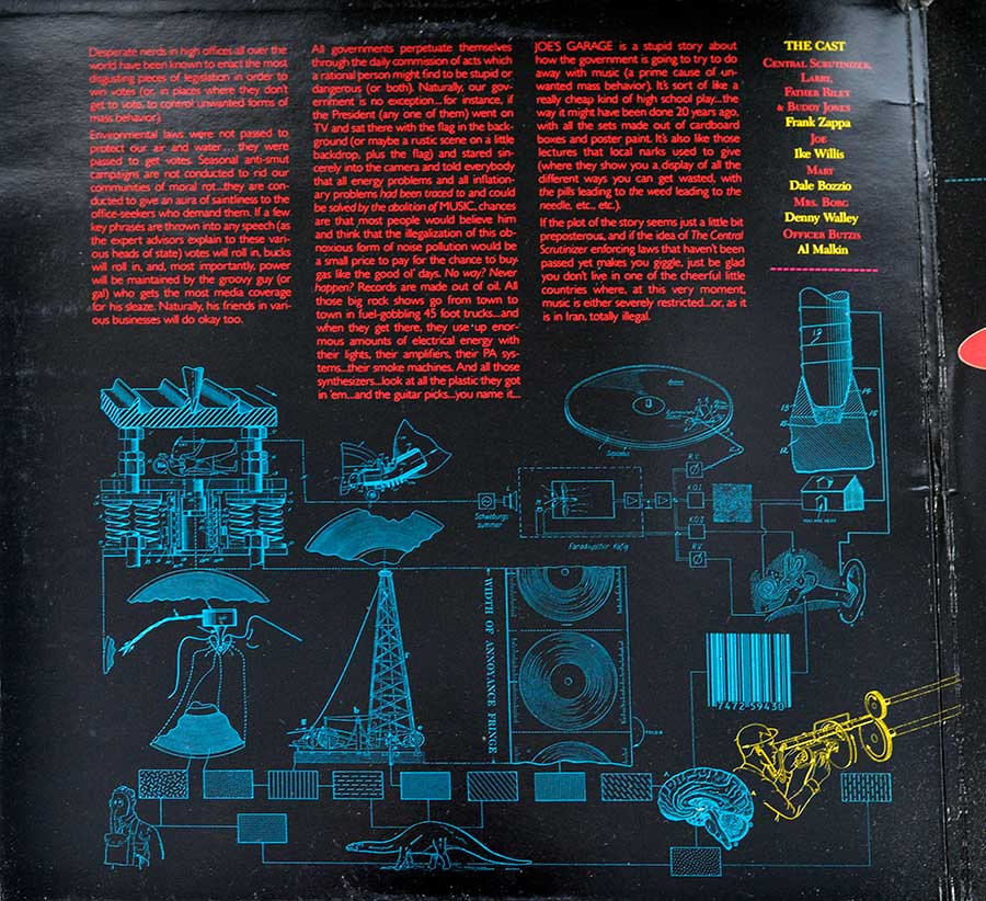 "FRANK ZAPPA - Joe's Garage Act I Gatefold 12"" Vinyl LP Album   inner gatefold cover"