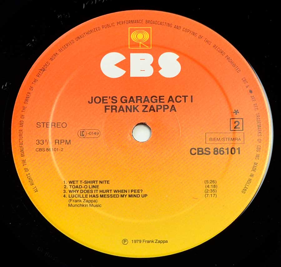 "Side Two Close up of record's label FRANK ZAPPA - Joe's Garage Act I Gatefold 12"" Vinyl LP Album"