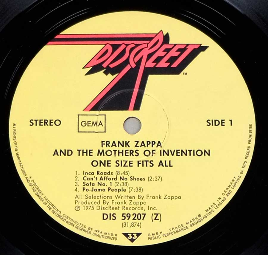 "Close up of record's label FRANK ZAPPA & MOTHERS OF INVENTION - One Size Fits All Gatefold 12"" LP VINYL ALBUM Side One"