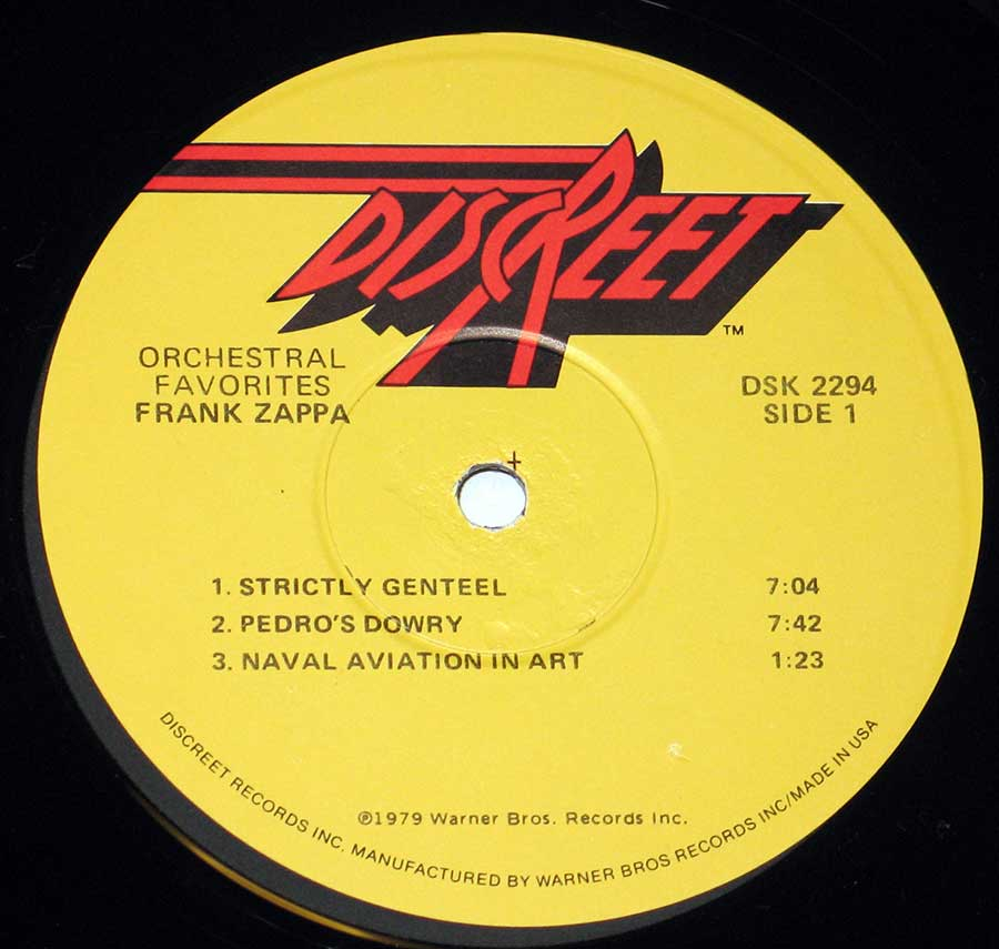 "Close-up of the ""Discreet"" Record label for ""Orchestral Favorites"" by ""Frank Zappa"""