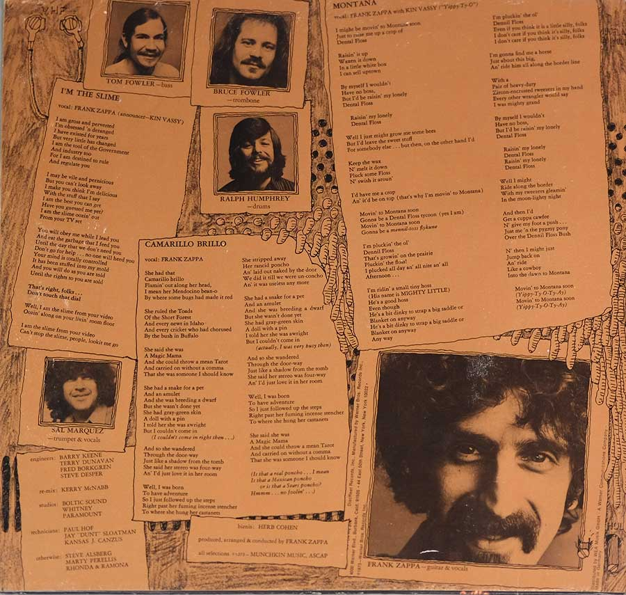 Photo of the left page inside cover MOTHERS OF INVENTION - Over-Nite Sensation