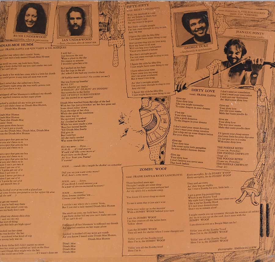 Photo of the right page inside cover MOTHERS OF INVENTION - Over-Nite Sensation