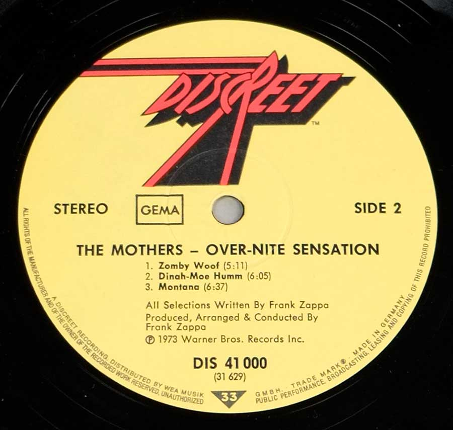 Close up of record's label MOTHERS OF INVENTION - Over-Nite Sensation Side Two