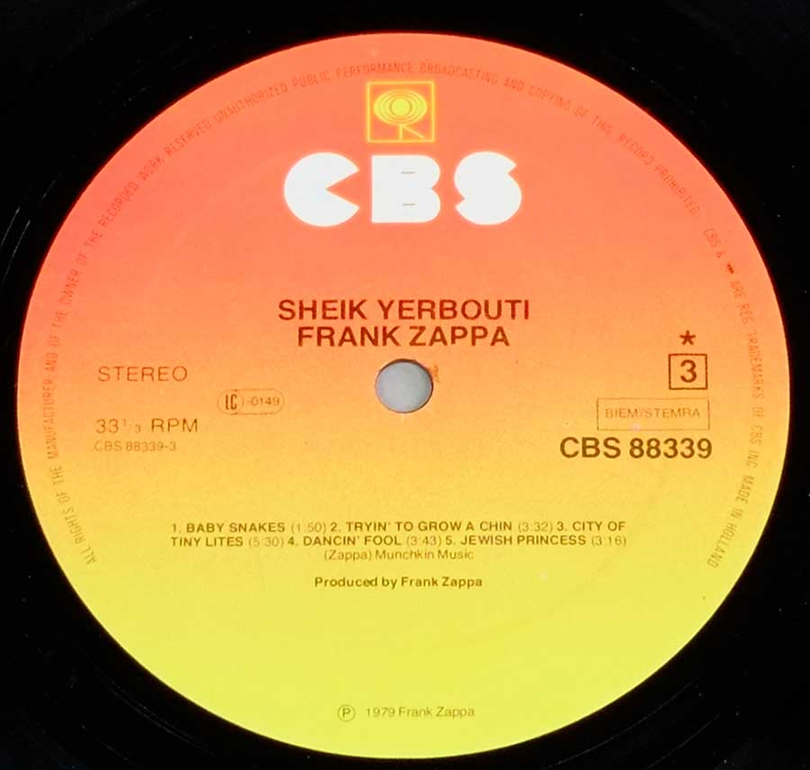 "FRANK ZAPPA - Sheik Yerbouti Holland Release Gatefold 2LP 12"" VINYL Album enlarged record label"
