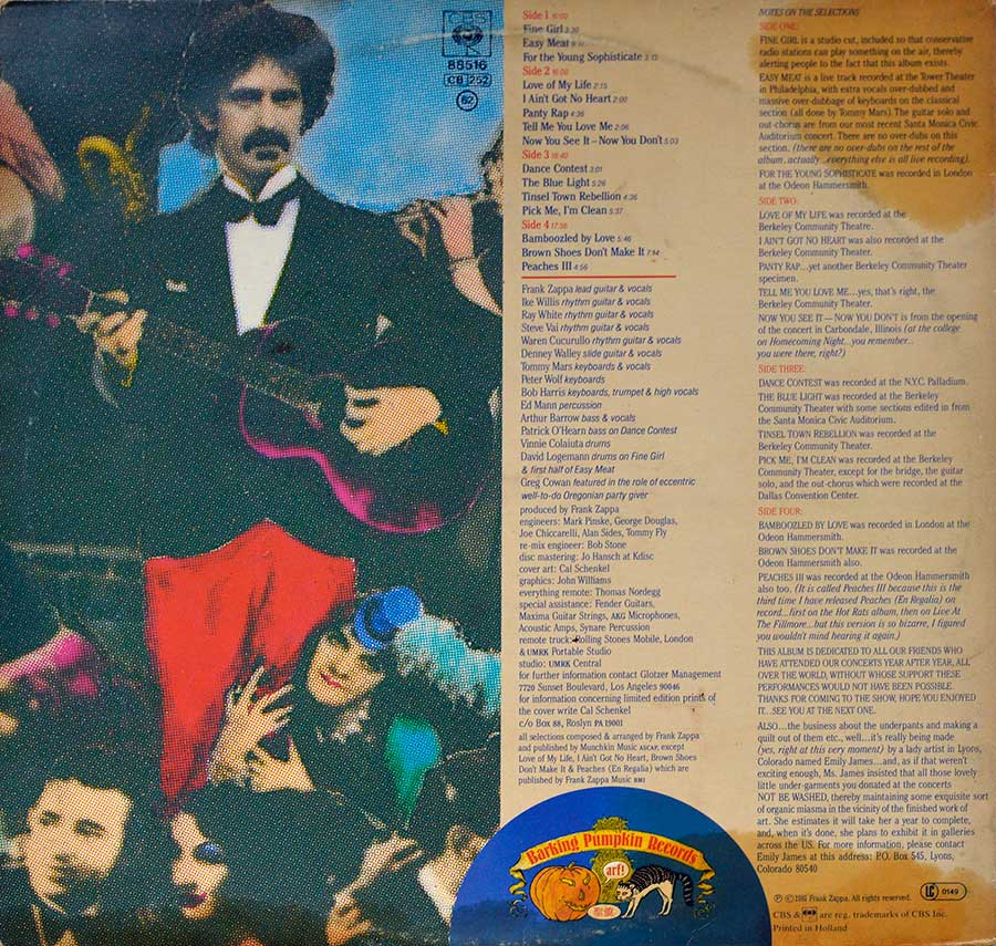 Photo of album back cover FRANK ZAPPA - Tinsel Town Rebellion