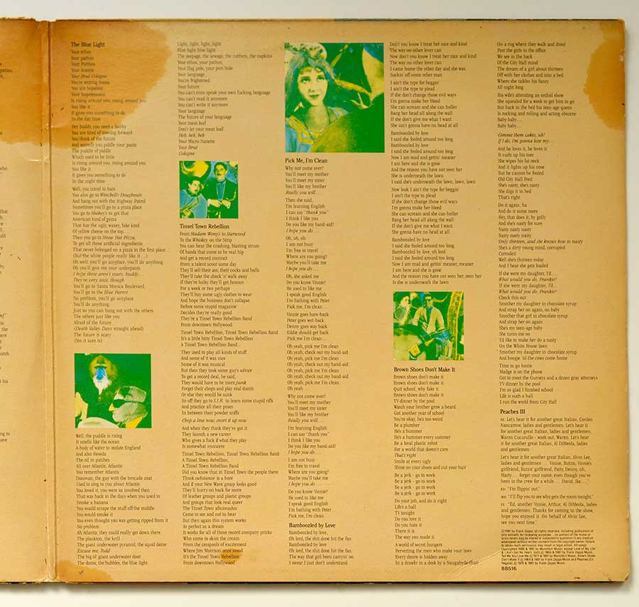 Photo of the right page inside cover FRANK ZAPPA - Tinsel Town Rebellion