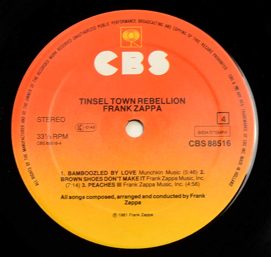 Close up of record's label FRANK ZAPPA - Tinsel Town Rebellion Side Four