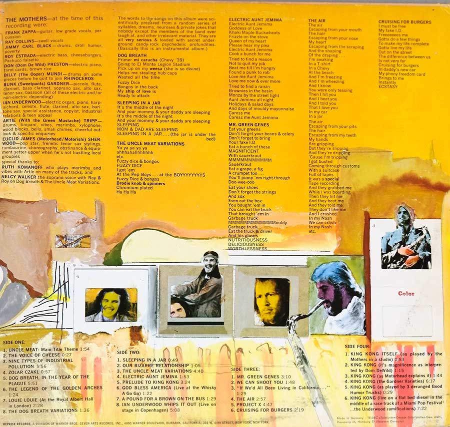 Photo of the right page inside cover MOTHERS OF INVENTION - Uncle Meat German Release