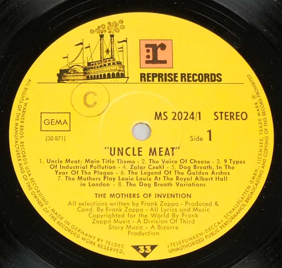 Close up of record's label MOTHERS OF INVENTION - Uncle Meat German Release Side One