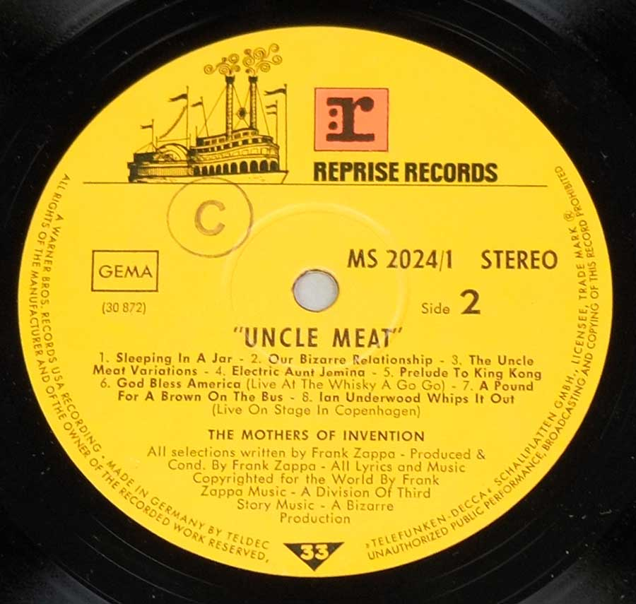 Close up of record's label MOTHERS OF INVENTION - Uncle Meat German Release Side Two