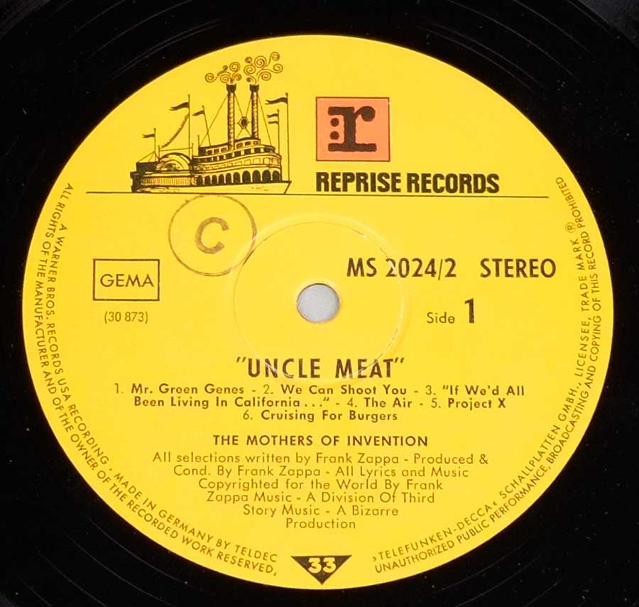 Close up of record's label MOTHERS OF INVENTION - Uncle Meat German Release Side Three: