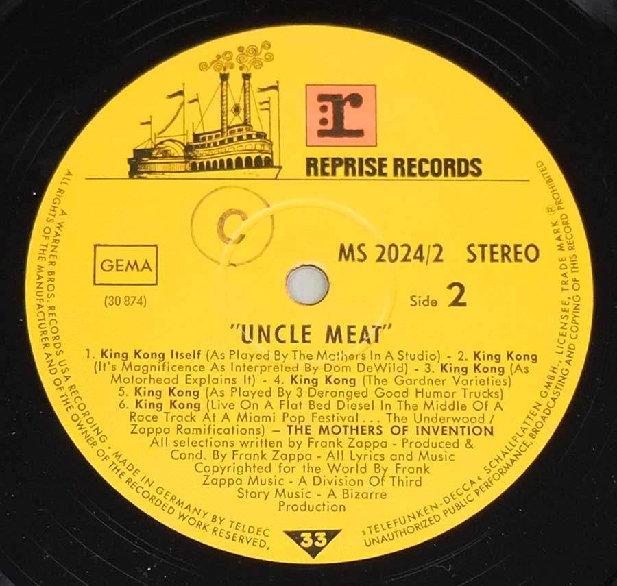Close up of record's label MOTHERS OF INVENTION - Uncle Meat German Release Side Four: