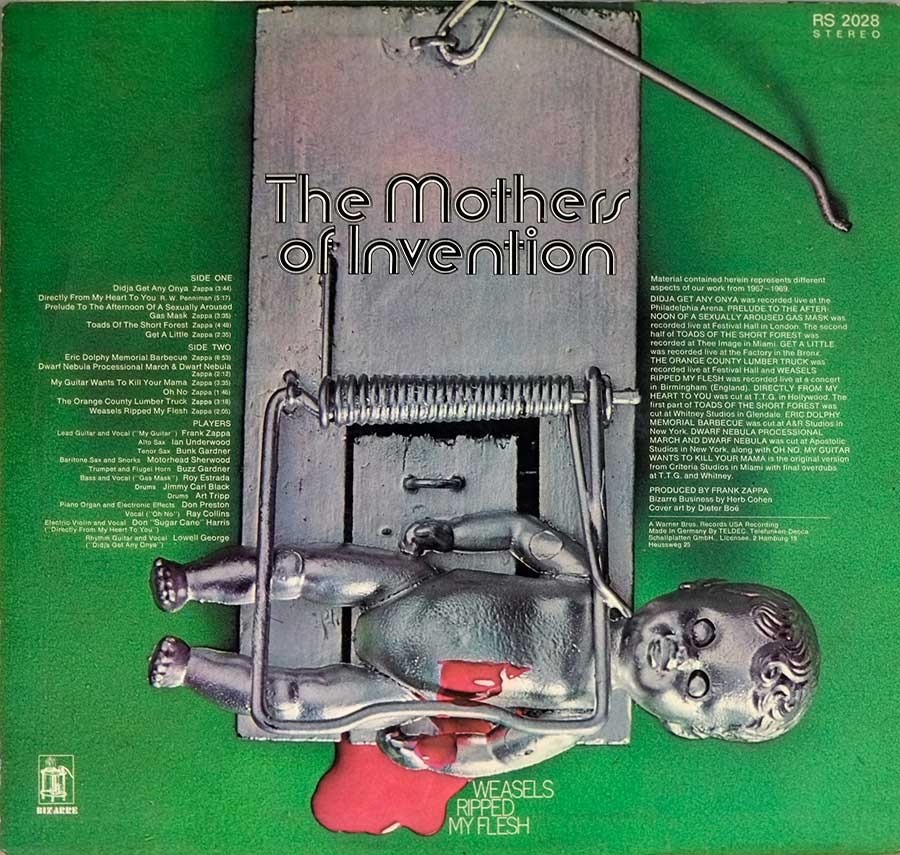 Photo of album back cover MOTHERS OF INVENTION - Weasels Ripped My Flesh