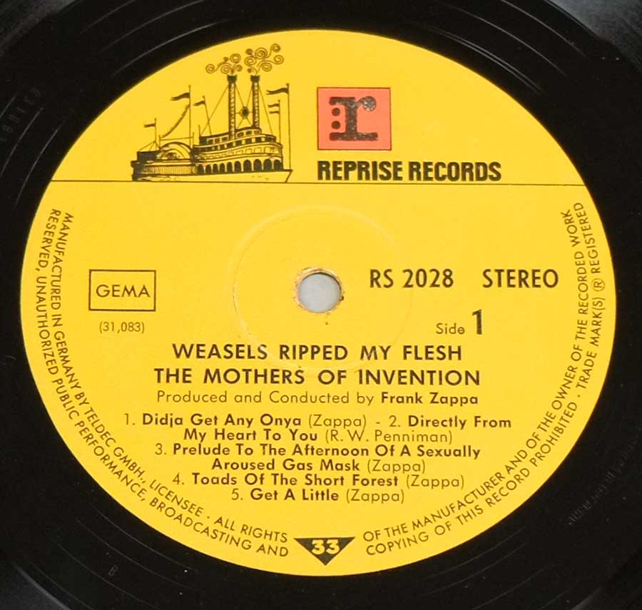Close up of record's label MOTHERS OF INVENTION - Weasels Ripped My Flesh Side One