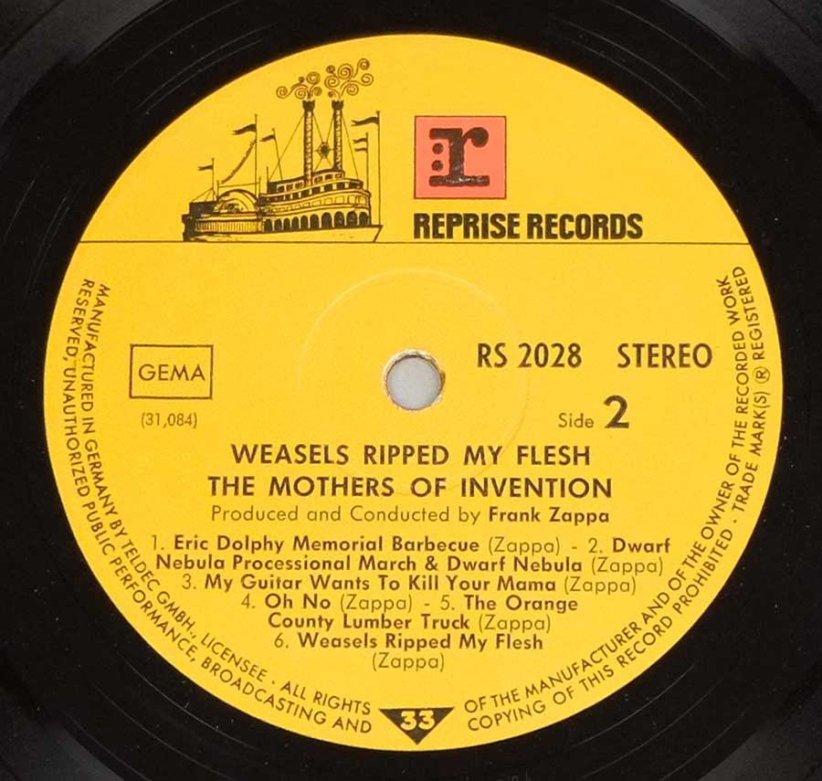 Close up of record's label MOTHERS OF INVENTION - Weasels Ripped My Flesh Side Two